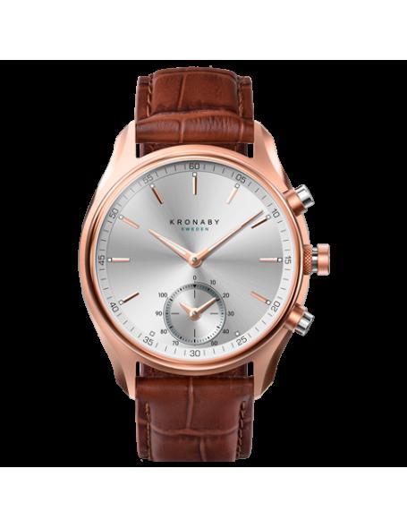 Kronaby Sekel 43mm Reloj Híbrido oro rosado, correa de cuero, hombre