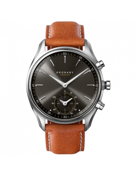 Kronaby Sekel 43mm Reloj Híbrido negro, correa de cuero, hombre