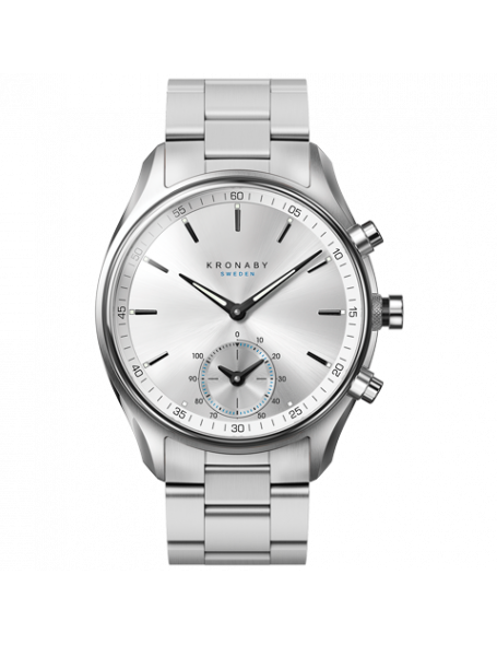 Kronaby Sekel 43 mm, Montre hybride argentée, bracelet en en acier, unisexe