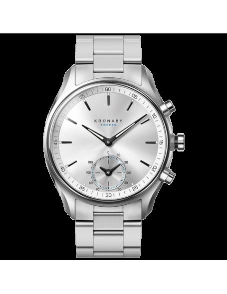 Kronaby Sekel 43mm Reloj Híbrido plateado, correa de acero, hombre