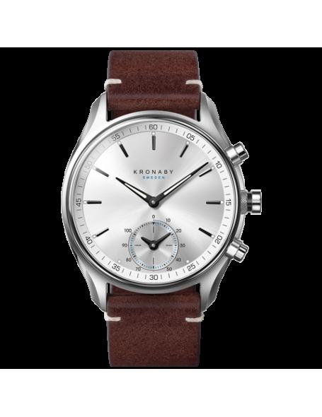Kronaby Sekel 43 mm Hybrid Smartwatch silver, leather strap, unisex