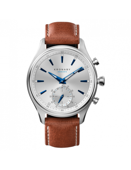 Kronaby Sekel 41 mm Hybrid Smartwatch silver, leather strap, unisex