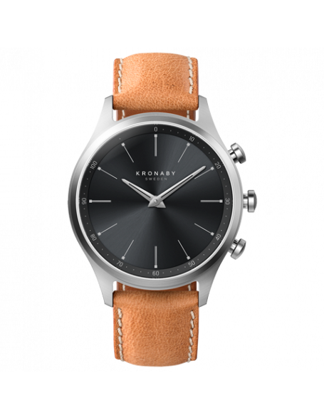 Kronaby Sekel 41 mm Hybrid Smartwatch black, leather strap, unisex