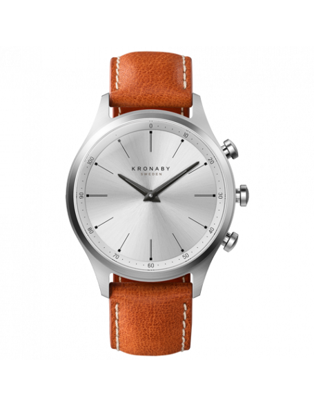 Kronaby Sekel 41 mm Hybrid Smartwatch silver, leather strap, unisex