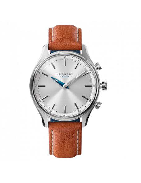 Kronaby Sekel 38 mm Hybrid Smartwatch silver, leather strap, unisex