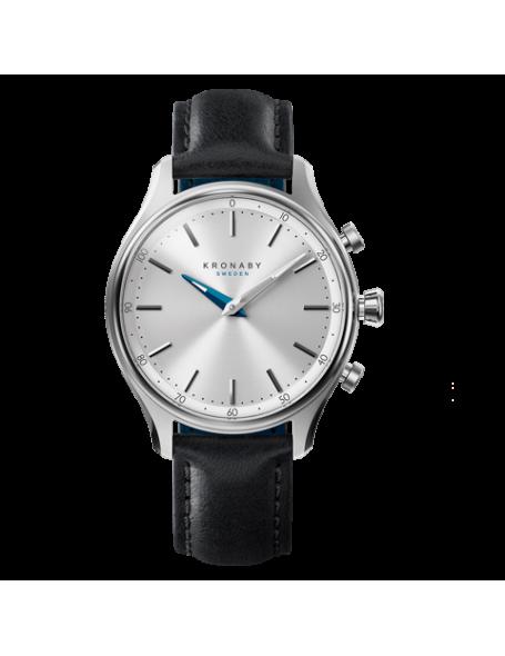 Kronaby Sekel 38 mm Hybrid Smartwatch silver, leather strap, unisex