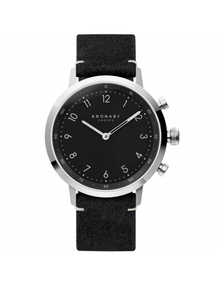 Kronaby Nord 41 mm Hybrid Smartwatch black, leather strap, unisex